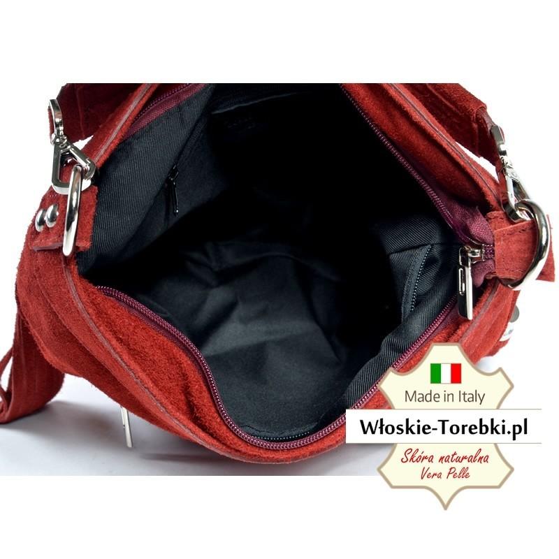 ceef5dad282b0 ... Czerwona zamszowa torebka Saveria - piękny ciemny odcień