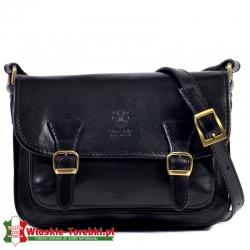 Czarna średniej wielkości skórzana torebka w stylu vintage - model Xaviera