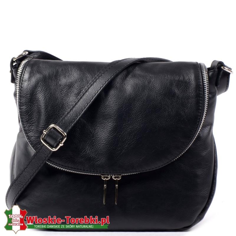 Włoska lekka skórzana czarna torebka do przewieszenia