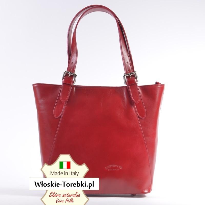 Czerwona torba damska Carla na dwóch uchwytach z regulacją długości
