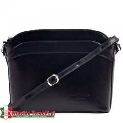 Mała czarna torebka Elena z gładkiej skóry