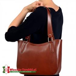 Brązowa torebka damska na ramię ze skóry Loreto