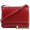 Czerwona skórzana torebka Italia średniej wielkości