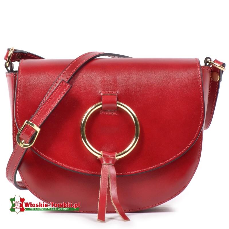Czerwona mała skórzana torebka Giorgia do przewieszenia