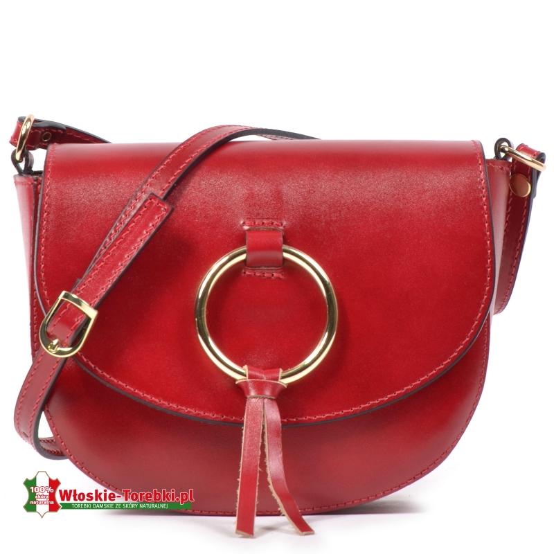 Czerwona torebka skórzana Giorgia do przewieszenia z klapką