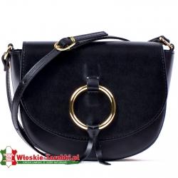 Skórzana mała czarna torebka ze złotym kołem na klapie