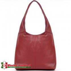 Skórzana czerwona torba na ramię z miękkiej skóry