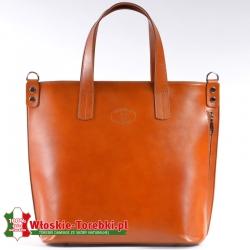 Torba miejska - teczka damska/shopperbag z jasnobrązowej skóry mieszczący A4