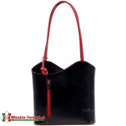 Czarna torebka / plecak damski z czeronymi elementami - model Velia