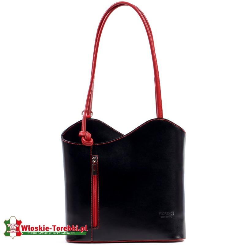 Czarna torebka plecak damski z czeronymi elementami model Velia