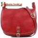 Czerwona torba ze skóry z klapą - duży model Ines
