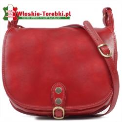 Czerwona duża torba crossbody ze skóry - model Ines