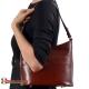 Brązowa skórzana torebka na ramię średniej wielkości - model Marcella