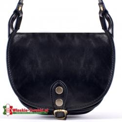 Czarna torebka z klapą ze skóry bufallo mały model Ines