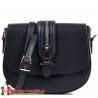 Czarna torebka z ozdobioną suwakiem klapą - model TONIA