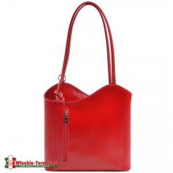 Torebka ze skóry w kolorze czerwonym - model średniej wielkości Velia