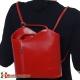 Włoski plecak damski z gładkiej czerwonej skóry licowej