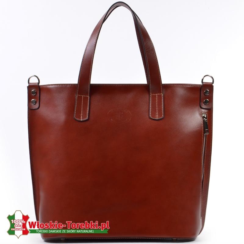 Polska torba skórzana w kolorze brązowym duży model typu