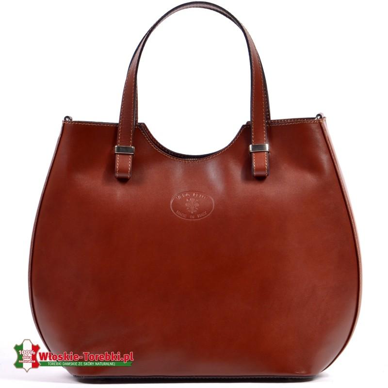 Włoska brązowa duża torba Fulvia - mieści A4