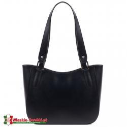 Elegancka klasyczna czarna skórzana torebka damska na ramię średniej wielkości Loreto