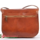 Skórzana jasnobrązowa włoska torebka damska z kieszenią z tyłu