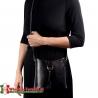 Czarna torebka LAURETTA - elegancka, mała z ozdobną srebrną klamrą