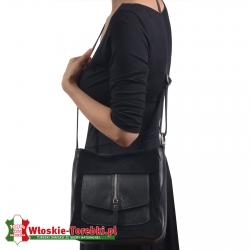 Skórzana czarna torebka Fiore średniej wielkości listonoszka