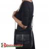 Czarna torebka FIORE średniej wielkości listonoszka z kieszenią  z klapą z przodu