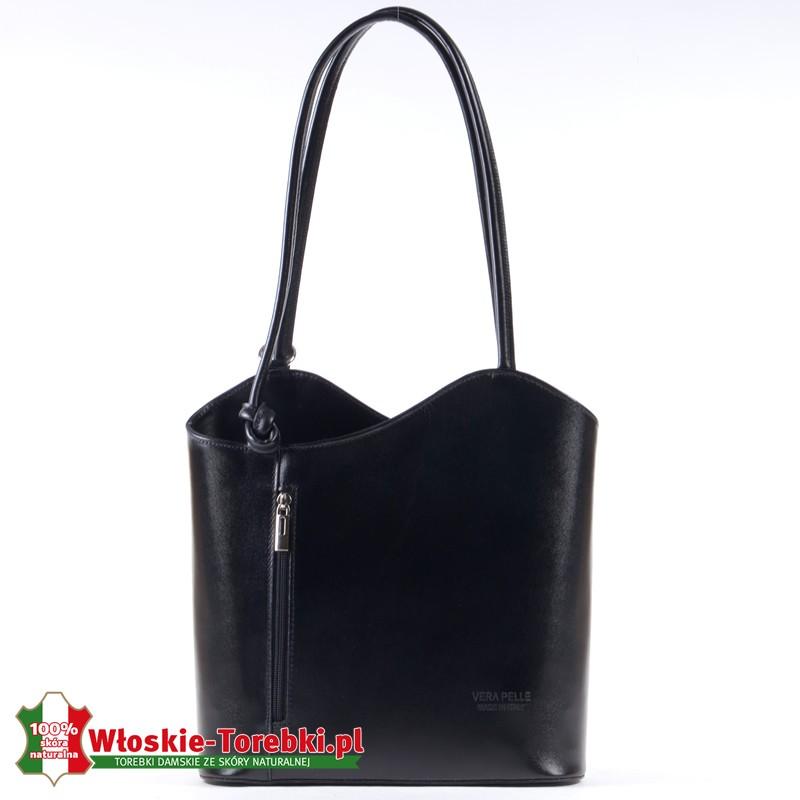Średniej wielkości plecako - torebka skórzana czarna z pionową kieszenią