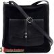 Czarna torebka z kieszenią z klapą z przodu