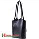 Torbo plecak włoski z czarnej gładkiej skóry