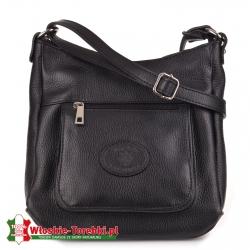 Skórzana czarna torebka Enrica do noszenia w przewieszeniu