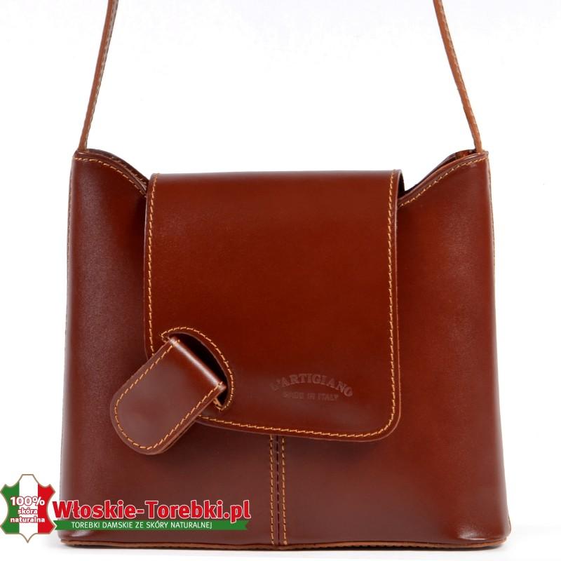Brązowa lekka elegancka skórzana listonoszka Bibiana torebka włoska