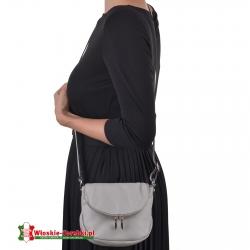 Mała szara torebka z miękkiej skóry listonoszka FELISA
