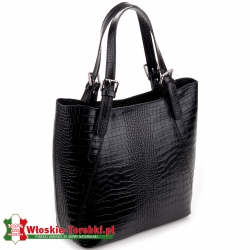 Duża stylowa torba damska Donatella skóra krokodyla