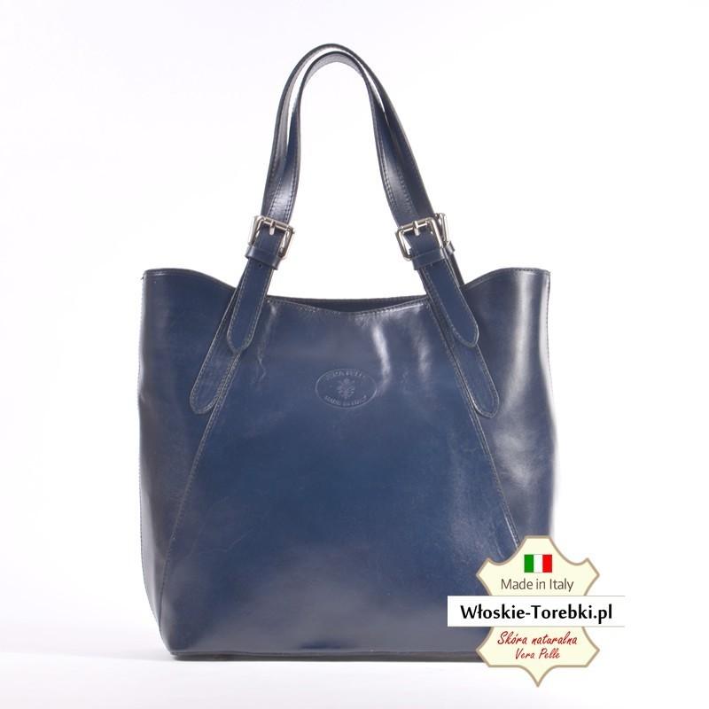 Granatowa duża torba A4 Donatella