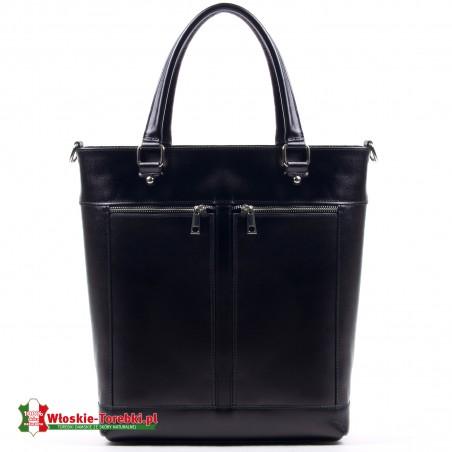 Czarna teczka damska - torba Silvana ze skóry