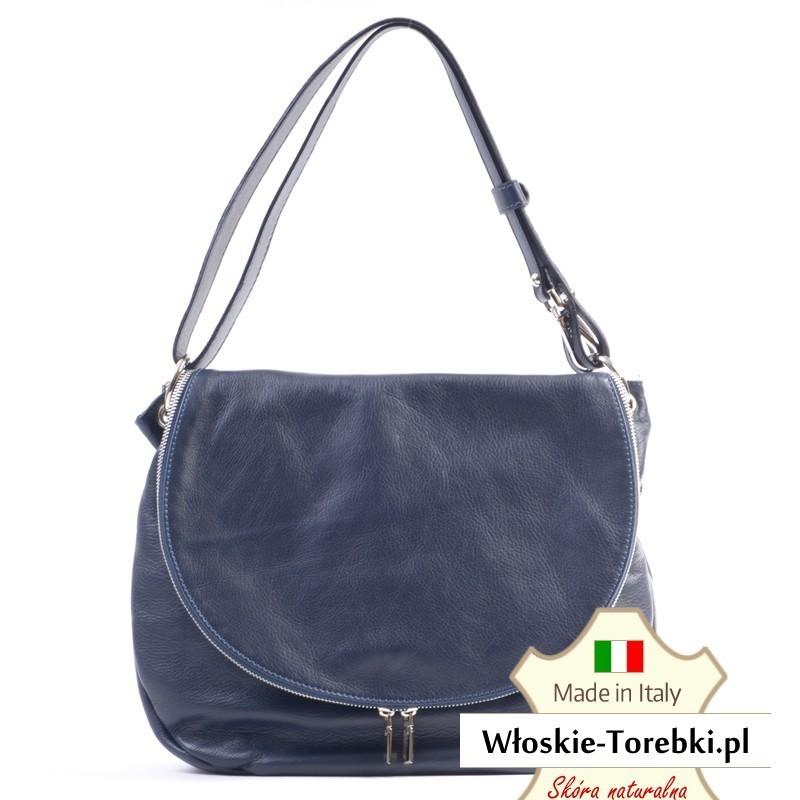 Skórzana ciemnoniebieska torebka Violetta z klapą