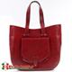 Czerwona duża torba skórzana Savina zaokrąglone kształty kieszonka z przodu