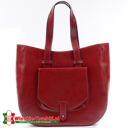Savina - czerwona duża torba ze skóry