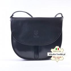 Czarna torebka listonoszka z klapką - model Rosabelle