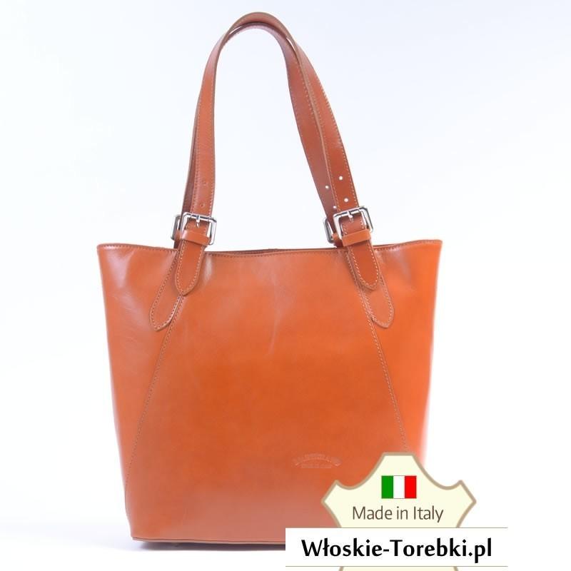 Carla - jasnobrązowa duża torba ze skóry