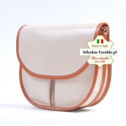 Mała torebka listonoszka - kolor ecru z jasnym brązem