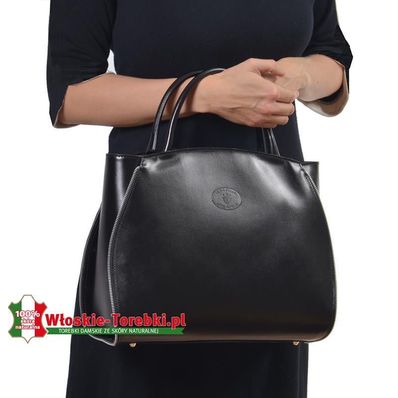 Duża włoska damska torba ze skóry sztywny kuferek teczka
