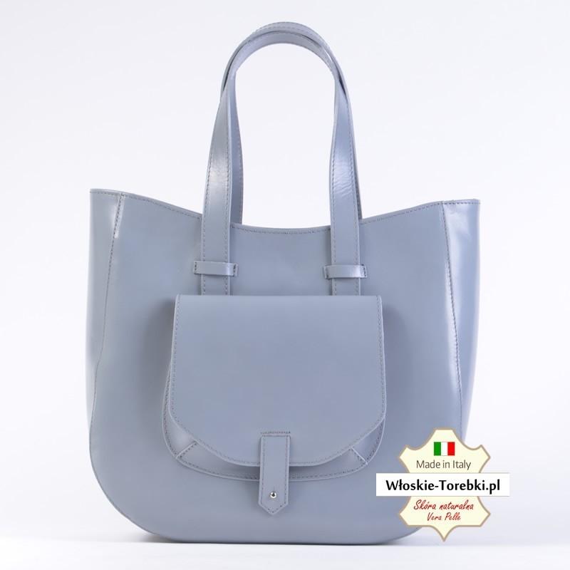 Szara duża torebka damska włoska - Savina produkcji włoskiej ze skóry