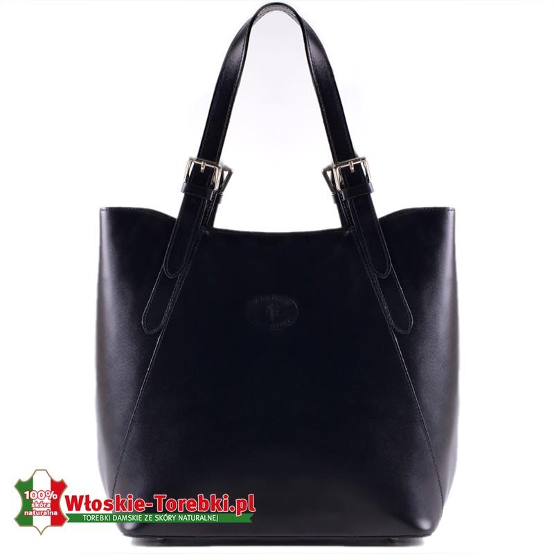 Czarna torba z regulowanej długości uchwytami - model Donatella