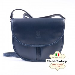 Granatowa torebka Rosabelle - na ramię, z klapą, długi pasek