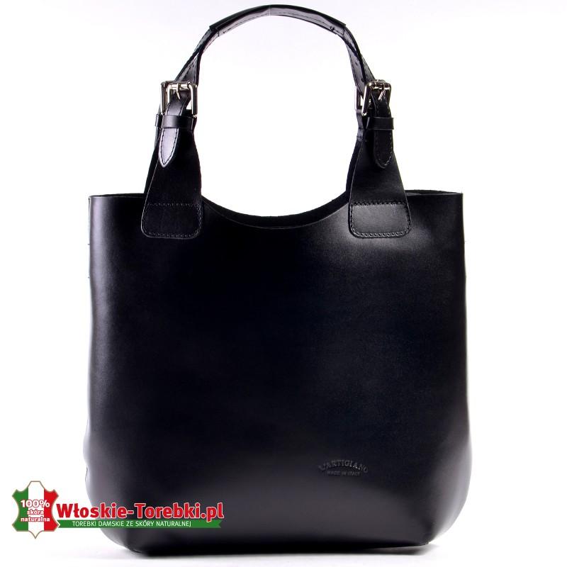 Czarna torba shopper model Nicolina z gładkiej skóry