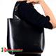 Torba shopperbag z naturalnej skóry kolor czarny