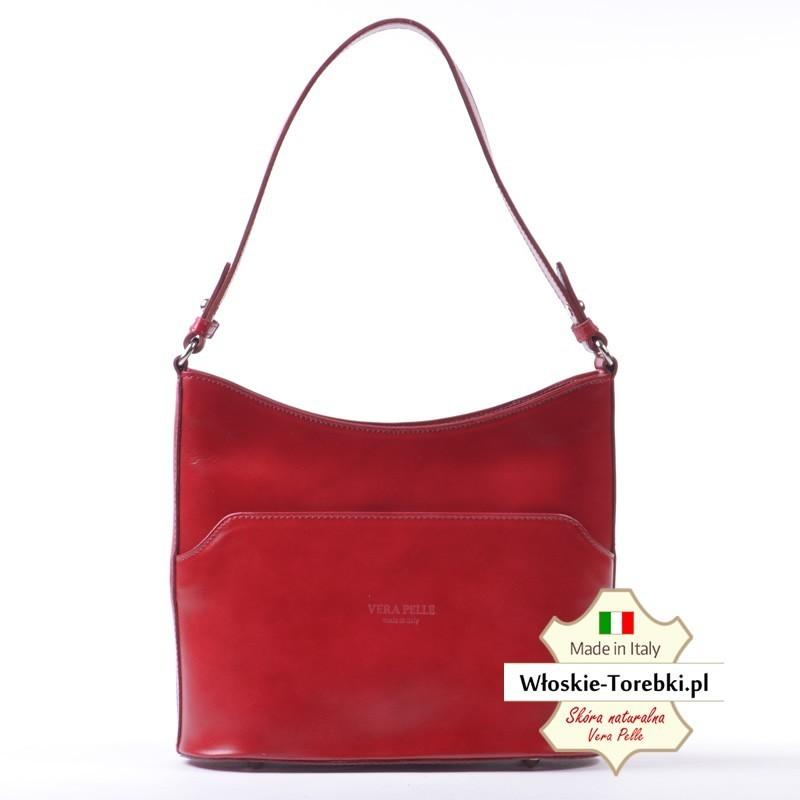 Czerwona torebka na ramię Marcella - średnia wielkość